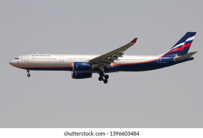 Bangkok Thailand / May  12 2019 / Aeroflot Airbus A330-300 landing at Suvanabhumi airport VTBS.