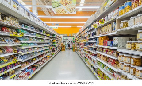 BANGKOK, THAILAND - May 1,2017 : Aisle view of a Tesco Lotus supermarket. Tesco is the world's second largest retailer with 6531 stores worldwide.