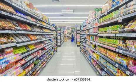 BANGKOK, THAILAND - May 1,2017 : Aisle view of a MAXVALU SUPERMARKET. MAXVALU SUPERMARKET is Supermarkets are open 24 hours
