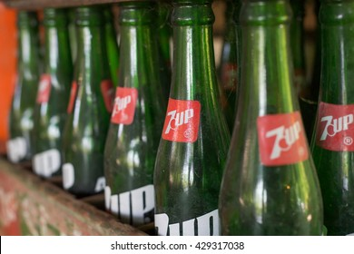 Bangkok, Thailand - May 13, 2016 : Old 7up glass bottle.