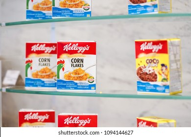 Bangkok, Thailand - May 13, 2018 : A photo of Kellogg's cornflakes boxes on shelf at Suvarnabhumi airport. Kellogg's is a American cereal brand produced by Kellogg company and distributed worldwide.