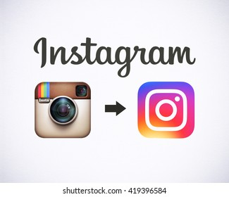 Bangkok, Thailand - May 14, 2016 - Instagram new logo 2016 , camera icon symbolic with colorful new design, Printed on white paper. Instagram is a popular social networking for sharing photos, videos.