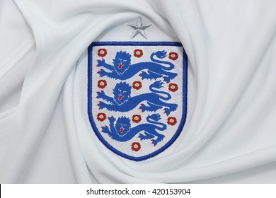 BANGKOK, THAILAND - MAY 14, 2016: The Three Lions Logo from England National Football  Jersey on May 14,2016 in Bangkok Thailand.