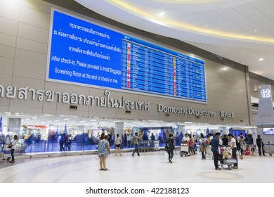 Bangkok, Thailand - May 14, 2016: View of Don Mueang International Airport Terminal 2 for domestic flights.