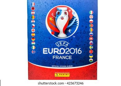 Bangkok, Thailand - MAY 14, 2016: Panini 2016 UEFA Euro France Official licensed sticker album isolated on white background