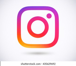 BANGKOK, THAILAND - May 14, 2016 - New Instagram logo 2016 camera icon symbolic with colorful new design, Printed on white paper. Instagram is a popular social networking for sharing photos and videos