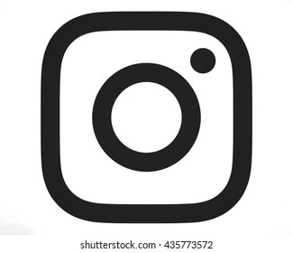 Bangkok, Thailand - May 14 , 2016- New Instagram logotype camera icon symbolic with new design 2016, Printed on white paper. Instagram is a popular social networking for sharing photos and videos.
