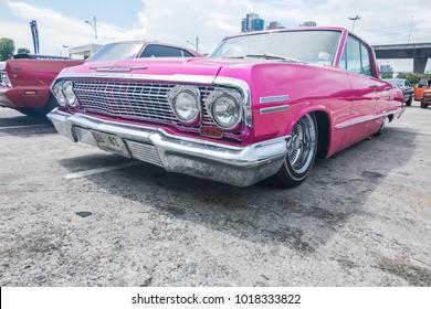 BANGKOK, THAILAND - MAY 14, 2017: The 1965 Chevrolet Impala Sedan parking at the car park.