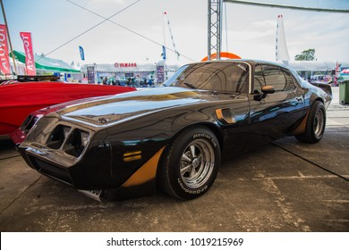 BANGKOK, THAILAND - MAY 14, 2017: The 1978 Pontiac Firebird Trans Am parking at the car park.