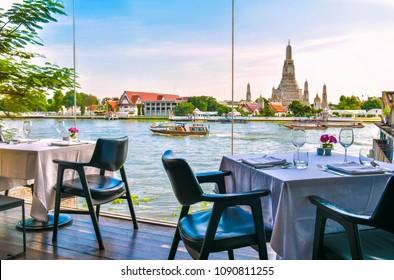 BANGKOK - THAILAND, MAY 14, 2018: Interior Sala rattanakosin Rooftop Bar.Overlooks the Wat Arun Temple in Bangkok