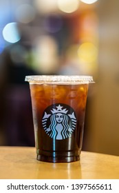 Bangkok Thailand, May 14, 2019. Starbuck coffee iced americano beverage in the cafe.