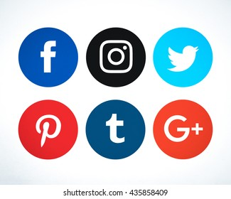 Bangkok, Thailand - May 15 , 2016 - Set of popular social media icons Facebook, Instagram,Twitter, Pinterest, Tumblr, Google Plus printed on paper. For your icon social media project design.