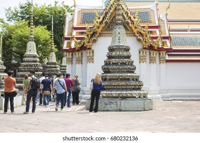 Bangkok, THAILAND -May 15: Tourists are walking for look around at Wat Pho temple, Thailand famous, May 15, 2016.