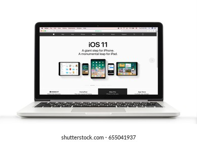 Bangkok, Thailand - May 16, 2017 : MacBook Pro with iOS 11 page on Apple official website background on the screen. MacBook Pro Retina 13-inch was created and developed by the Apple inc.
