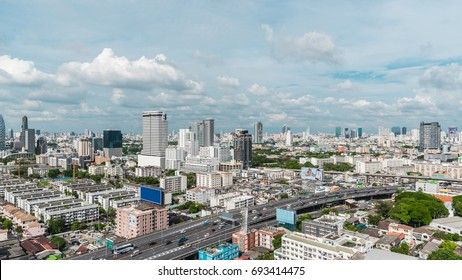 Bangkok, Thailand - May 16, 2017 : Cityscape and building of city in daytime from skyscraper of Bangkok. Bangkok is the capital and the most populous city of Thailand.