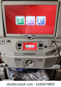 Bangkok, Thailand - May 16, 2019 : Entertainment on Airbus A380-800 of  Emirates, Flight EK384 from Dubai transit at Bangkok to Hong Kong