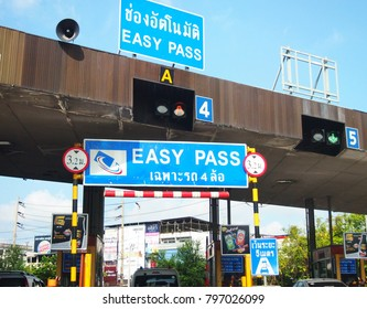 BANGKOK, THAILAND - MAY, 16: Automatic easy pass pay toll of bangkok express way service for vehicle rapid pass of gate represent transportation and technology on May 4, 2016 in Bangkok Thailand.