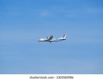 BANGKOK, THAILAND - MAY 17, 2017 : Bangkok Airways aircraft ATR 72-600 landing at Suvarnabhumi international airport in Bangkok. HS-PZB. Asia.