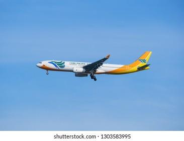 BANGKOK, THAILAND - MAY 17, 2017 : Cebu Pacific aircraft Airbus A330-343 landing at Suvarnabhumi international airport in Bangkok. RC-C3346. Asia.