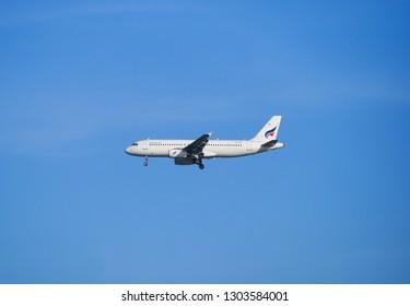BANGKOK, THAILAND - MAY 17, 2017 : Bangkok Airways aircraft Airbus A320-232 landing at Suvarnabhumi international airport in Bangkok. HS-PPH. Asia.