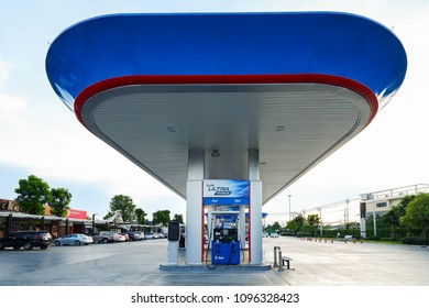 """BANGKOK, THAILAND - MAY 17, 2018: PTT gas station,  PTT has formulated new fuel """"UltraForce Diesel"""" to differentiate its fuel technology from competitors with higher speed and cleaner engine."""