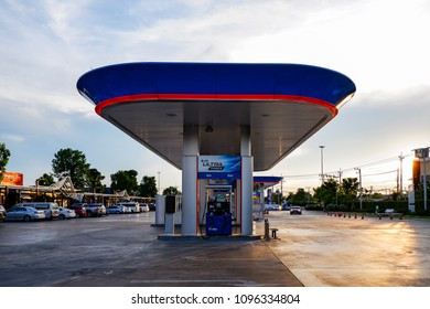 BANGKOK, THAILAND - MAY 17, 2018: PTT gas station, PTT UltraForce Diesel is a premium diesel for all types of diesel engines with a clean fuel technology to help cleaning nozzles like a brand new.