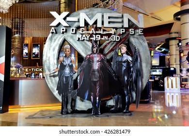 Bangkok, Thailand - May 18, 2016:  Beautiful Standee of X-Men: Apocalypse display at Siam Paragon Shopping Center