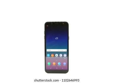 BANGKOK, THAILAND - May 18, 2018 : Samsung A6 Smartphone New Brand Of Samsung For Editorial.