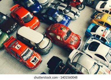 Bangkok Thailand May 18 2019 : collectible model cars in vintage retro tone