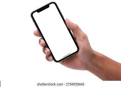 Bangkok, Thailand - May 18, 2020: Studio shot of Hand holding Smartphone iPhone 11 Pro Max and Show space white screen for mobile Phone your web site design, logo, app - include clipping path.