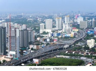 BANGKOK, THAILAND - May 19, 2017 bangkok city and modern office buildings in Aerial view, Bangkok is the capital and most populous city of Thailand.