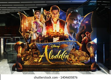 Bangkok, Thailand - May 19, 2019: The Standee of The Disney American Musical Fantasy Movie Aladdin Acting By Mena Massoud as Aladdin and Will Smith as Genie  Displays at the Theater