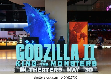 Bangkok, Thailand - May 19, 2019: The Standee of An American monster Movie Godzilla II: King of the Monsters Displays at the Theater