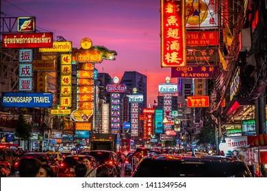 BANGKOK, THAILAND - MAY 19, 2019 : Night at Yaowarat road. Yaowarat Road is a main street in Bangkok's Chinatown. The famous street food in Thailand. Many tourists are visiting at night.
