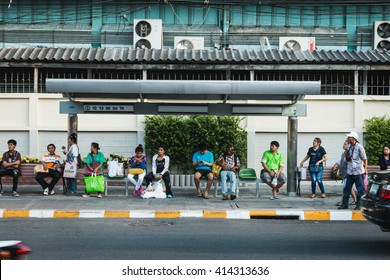 BANGKOK THAILAND - MAY 2 2016 : people wait the bus at bus stop near Huay Kwang market