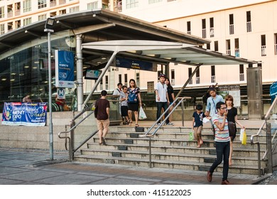 BANGKOK THAILAND - MAY 2 2016 : Thai people walk in and walk out Huay Kwang subway station  Bangkok