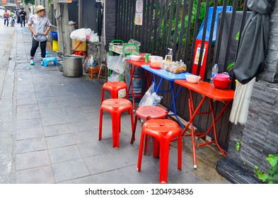 Bangkok, Thailand - May 2, 2017: Street food restaurant on Sukhumvit Soi 11.