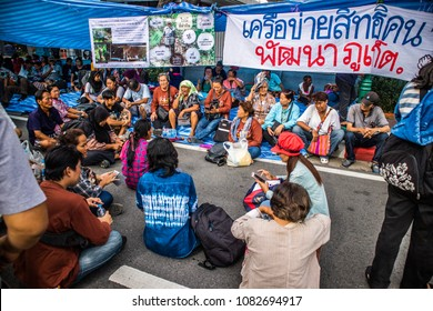BANGKOK, THAILAND - MAY 2, 2018: Justice Movement in Thailand. They called on the government to solve the problem of social inequality in Thailand. The problem of poverty, social rights, access to res