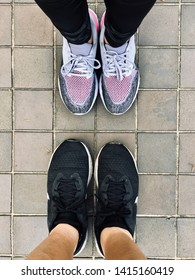 BANGKOK, THAILAND. MAY 20, 2019: the runners wear  stability running shoes Nike Odyssey React 2, standing on the mosaic pavement floors.