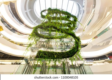 BANGKOK, THAILAND - MAY 20 : The Helix Quarter at Emquartier Shopping Mall on May 20, 2018 in Bangkok, Thailand. The Emquartier is one of the luxury shopping center in Bangkok connected to Emporium.