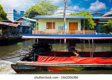 BANGKOK, THAILAND - MAY 20: Longtail boat in Klong Bang Luang on May 20, 2018 in Bangkok, Thailand. Bangkok canal tour is one of the most popular activities for traveler.