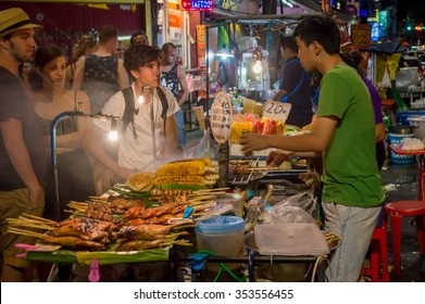 Bangkok / Thailand - May 2015:Khao San Road Street food, Bangkok, Thailand on May 06, 2015 in Khao San Road.