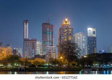 Bangkok, Thailand - May 2017: Business area at twilight in Bangkok on May 2017. This place is the busy area in Bangkok.
