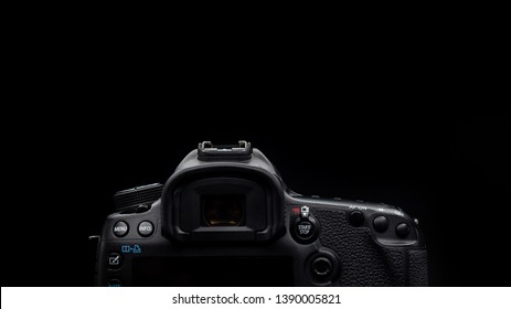 Bangkok, Thailand - May 2019 : close up back view of Canon 5D Mark iii DSLR professional camera photo in black studio in Thailand , 16:9 aspect ratio cover picture .