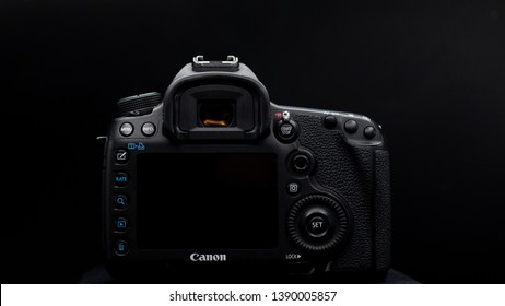 Bangkok, Thailand - May 2019 : close up screen and button back view of Canon 5D Mark iii DSLR professional camera photo in black studio in Thailand ,