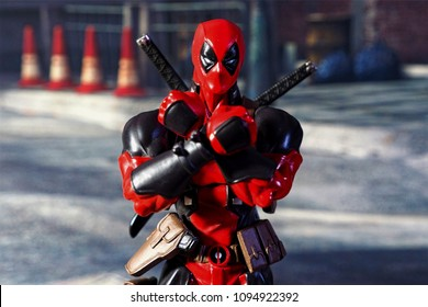 Bangkok, Thailand - May 20,2018 - Kaiyodo, the Japanese figure manufacturer, launched the action figure line Comic Revol, based on character of Marvel's comic Deadpool