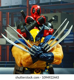 Bangkok, Thailand - May 20,2018 - Kaiyodo, the Japanese figure manufacturer, launched the action figure line Comic Revol, based on character of Marvel's comic Wolverine and Deadpool