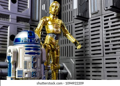 Bangkok, Thailand - May 20,2018 - Medicom, the Japanese figure manufacturer, launched the action figure line Mafex, based on character of Star Wars's comic R2D2 and C3PO