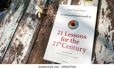 """Bangkok, Thailand- May 20,2019: New Released book """"21 lesson for 21st century"""" (Thai Edition) One of the best seller book's Yuval noah harari."""