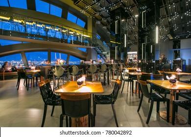 Bangkok, Thailand - May 21, 2016 : Restaurant interior in luxury hotel at Banyan Tree Bangkok, Thailand